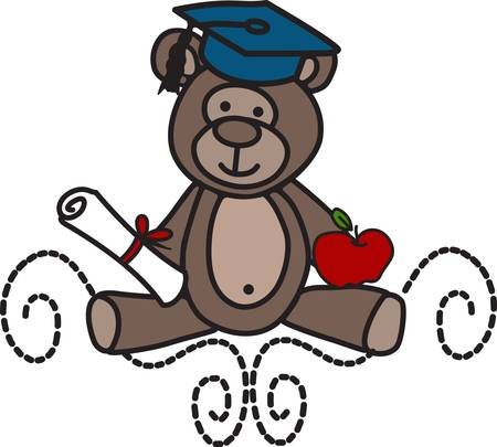 wagon wheel: School days are special days.  Create a special school time memory with this sweet little teddy with his school treasures.