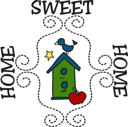 little bird: Welcome home to this delightful little bird house.  We love the swirly stitches that create a lovely frame around the design. Illustration