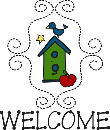delightful: Welcome home to this delightful little bird house.  We love the swirly stitches that create a lovely frame around the design. Illustration