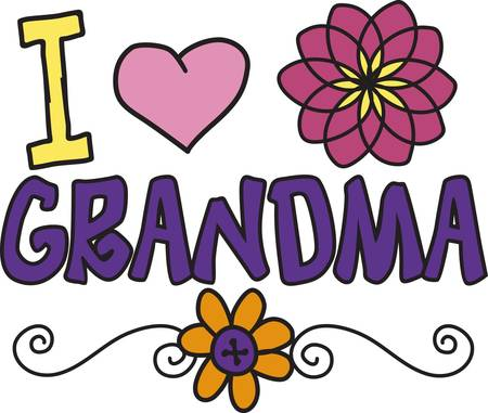Flowers are popping up all around to show affection for a special grandma.  This affectionate design is a perfect add for shirts and bags or even a baby onesie