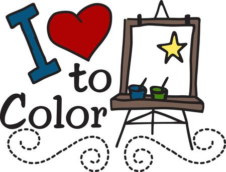 Encourage a love for painting and drawing. This cute design looks great on school shirts and art smocks.