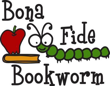 Onze kleine boekenwurm houdt van te lezen en te leren. Hij kijkt groot op de school shirts en de bibliotheek decor. Hoe zit het met een vlag voor de schoolbibliotheek Stock Illustratie