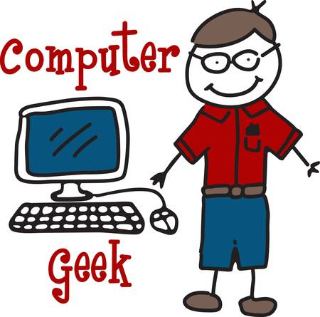 Our little computer geek is a perfect guy to include on your shirts or hats for your computer nerd  The child like drawing is both light hearted and eye catching.