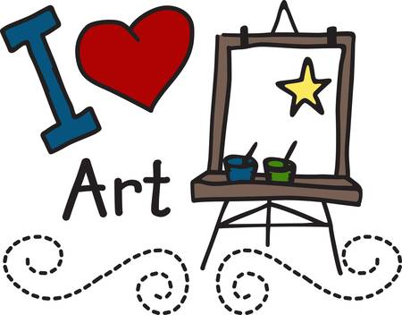 canvass: Encourage a love for painting and drawing. This cute design looks great on school shirts and art smocks.