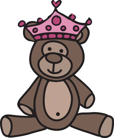 sweetest: Create a special garment or gift for your special princess with this little princess bear.  She is just the sweetest little bear ever