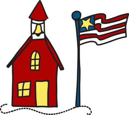 days gone by: This traditional red school house of days gone by stands as a tribute to education and educators.  Use this fun drawing design to create a fitting tribute to your favorite educator.