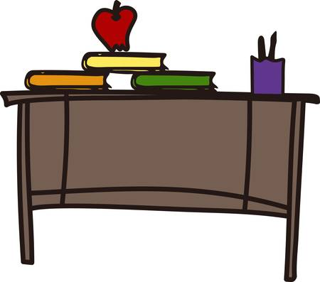teacher desk: We love this teacher desk design to decorate a sign or flag for your favorite educator.  Complete with books pen and apple it is sure to be a hit