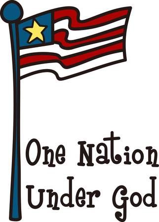 flair: This kid style drawing flag adds patriotic flair to your July 4 wear or any patriotic gear.  Looks great on polo shirts or tees Illustration