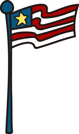 july 4: This kid style drawing flag adds patriotic flair to your July 4 wear or any patriotic gear.  Looks great on polo shirts or tees Illustration