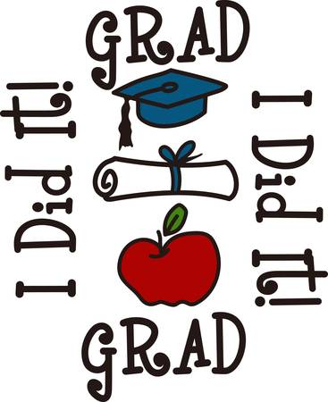 light hearted: Show that special grad how special they are with this light hearted design.  It goes great on bags and clothes for the graduation party. Illustration