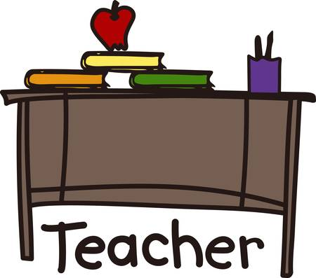 We love this teacher desk design to decorate a sign or flag for your favorite educator.  Complete with books pen and apple it is sure to be a hit