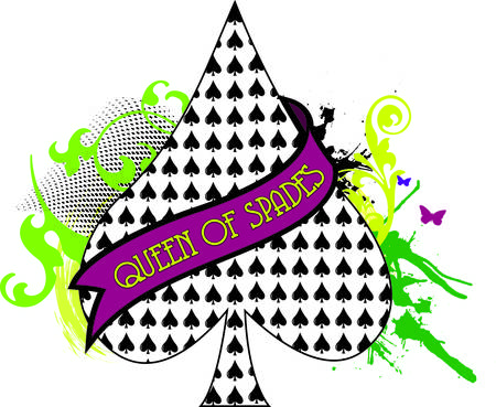 Queen of spades with a swirl of greenery and a tiny butterfly.  This design can add a fun element to textile decoration projects of all sorts. Illusztráció