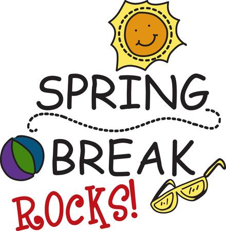 break in: Time for a spring break holiday in the sunshine.  We eve have sunglasses and a beach toy to complete the holiday. Use this happy sunshine design to decorate a special shirt for your break Illustration