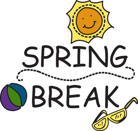 spring: Time for a spring break holiday in the sunshine.  We eve have sunglasses and a beach toy to complete the holiday. Use this happy sunshine design to decorate a special shirt for your break Illustration