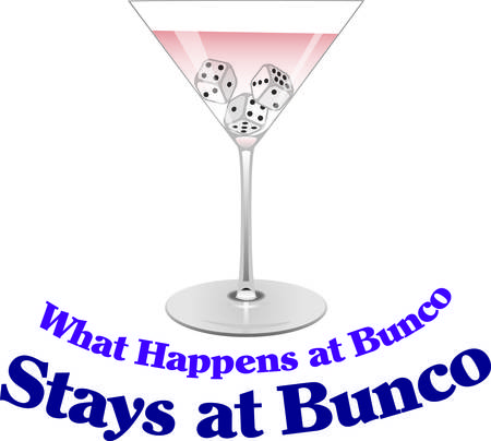 Bunco just got a bit more fun with a martini  or two.  This design will be sure to act as a conversation starter as a decoration at your next bunco party Illustration
