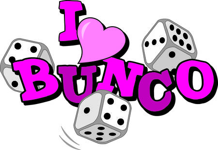 night table: Bunco starts with a roll of the dice  What a fun visual for a favorite game night.  Decorate bunco party favors or table cloths for the girls night