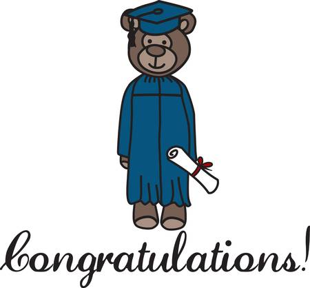 standout: Need a cute and standout decoration to create that special gift for the graduate  Our cute bear creates the perfectly decorated gift. Illustration