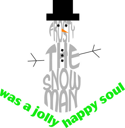 frosty: Frosty is brought to text life  The famous snowman formed from text is the perfect holiday decoration for your holiday