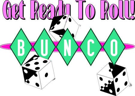 Bunco はビジュアル好きなゲームの夜の何が楽しいのサイコロのロールで始まります。 ダイヤモンドのレトロな雰囲気が大好き私たちレタリングを囲  イラスト・ベクター素材