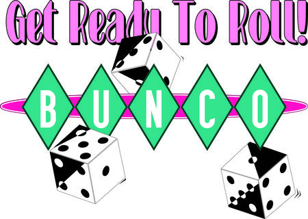 Bunco starts with a roll of the dice  What a fun visual for a favorite game night.  We love the retro feel of the diamond surround lettering