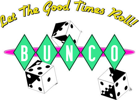 parlour games: Bunco starts with a roll of the dice  What a fun visual for a favorite game night.  We love the retro feel of the diamond surround lettering