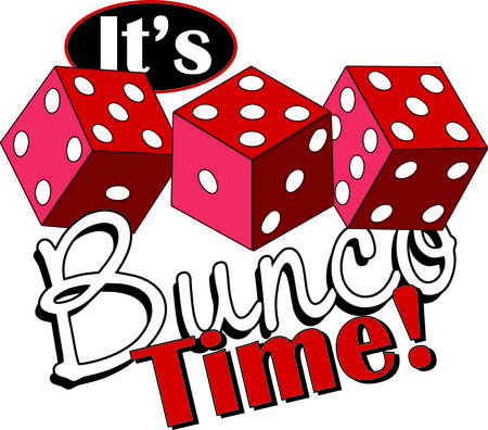 Bunco starts with a roll of the dice  What a fun visual for a favorite game night. Stock Illustratie