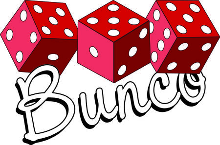 Bunco starts with a roll of the dice  What a fun visual for a favorite game night. Vectores