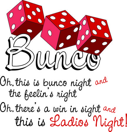 Bunco starts with a roll of the dice  What a fun visual for a favorite game night. Illusztráció