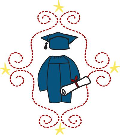 academic robe: Need a standout decoration to create that special gift for the graduate  This lovely motif of caps and gown makes a perfect graduation keepsake. Illustration