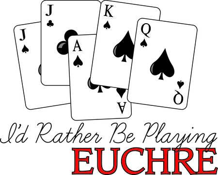 kartenspiel: Eine gewinnende Hand eucre. Diese tricktaking Kartenspiel ist ein Lieblings und sicher, Appell an Ihr Kleid oder textile Projekte hinzuzuf�gen.