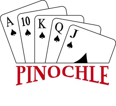 kartenspiel: Pinochle jemand Dieses tricktaking Kartenspiel ist ein beliebtes und sicher, Appell an Ihr Kleid oder Textil-Projekten hinzuf�gen.