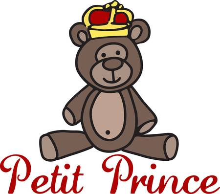sweetest: Create a special garment or gift for your special little prince with this little prince charming bear.  She is just the sweetest little bear ever