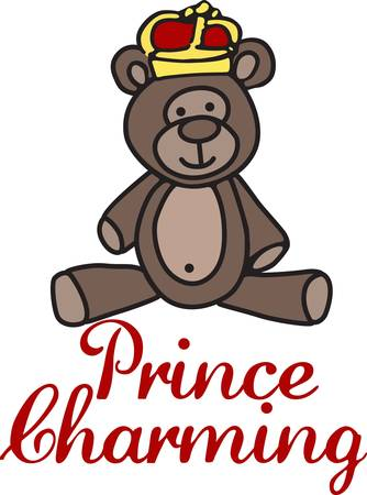 Create a special garment or gift for your special little prince with this little prince charming bear.  She is just the sweetest little bear ever