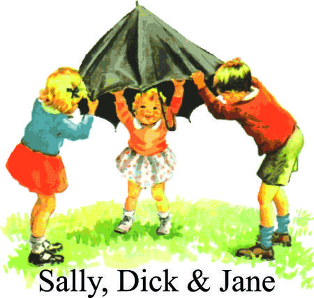 days gone by: The learn to read classic tales of Dick and Jane come to life in realistic watercolor.  The children of days gone by bring their special charm to your project. Illustration