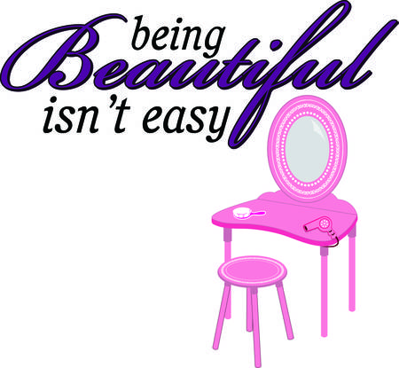 vanity table: Can you imagine a princess getting ready to meet her subjects without a pretty vanity table to do her make up  We love this pink table and tools. Positively princess approved Illustration