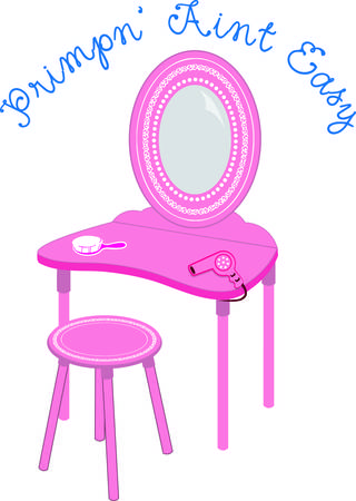 vanity: Can you imagine a princess getting ready to meet her subjects without a pretty vanity table to do her make up  We love this pink table and tools. Positively princess approved Illustration