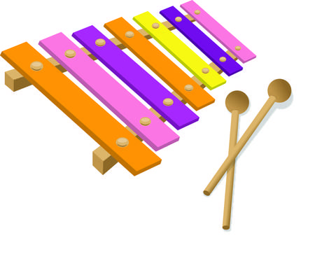 cute graphic: Make some happy sounds with this colorful xylophone.  Music can go anywhere with this cute graphic to dress up your apparel projects. Illustration