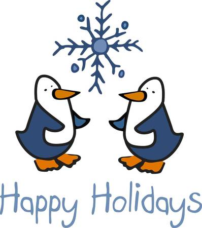 Only one snowflake to share between two snowloving penguins  Share this fun design on your gifts of stitching this holiday season Illustration