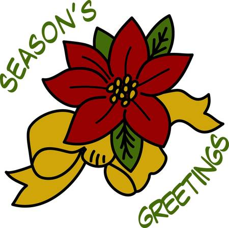 tasteful: Tasteful and elegant poinsettia bloom tied with a bow brings the color of the holidays to your projects.  It stitches out sharply and beautifully. We love it decorating napkins or shirts. Illustration