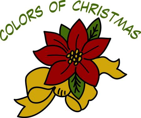 sharply: Tasteful and elegant poinsettia bloom tied with a bow brings the color of the holidays to your projects.  It stitches out sharply and beautifully. We love it decorating napkins or shirts. Illustration