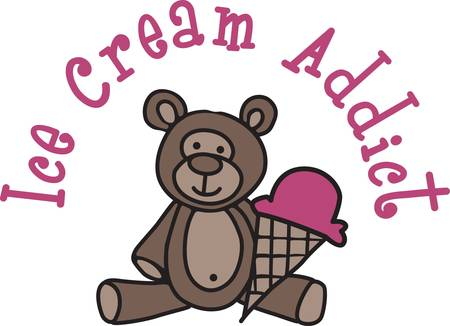 Our cuddly little teddy invites you to share an ice cream cone.  What a cute decoration for kid gear or something cute for the new baby.