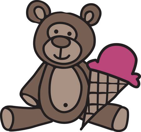 私たちのかわいい小さなテディベア アイス クリーム コーンを共有することを誘います。 どのような子供のギアか何か新しい赤ん坊のためのかわい  イラスト・ベクター素材