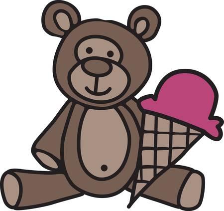 Nuestro tierno peluche poco le invita a compartir un cono de helado. ¡Qué linda decoración para el engranaje chico o algo lindo para el nuevo bebé. Foto de archivo - 40657235