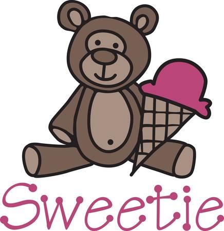 La nostra coccolone piccolo orsacchiotto vi invita a condividere un cono gelato. Che decorazione sveglia per gli attrezzi bambino o qualcosa di carino per il nuovo bambino. Archivio Fotografico - 40657232