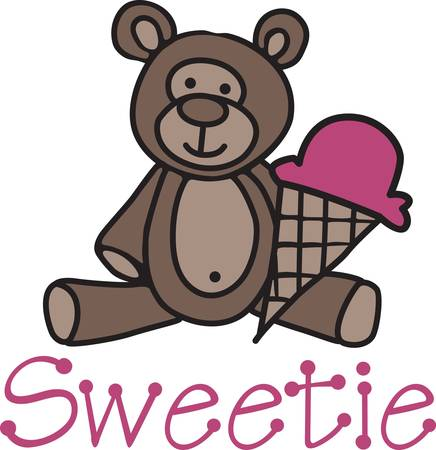soft serve: Our cuddly little teddy invites you to share an ice cream cone.  What a cute decoration for kid gear or something cute for the new baby.