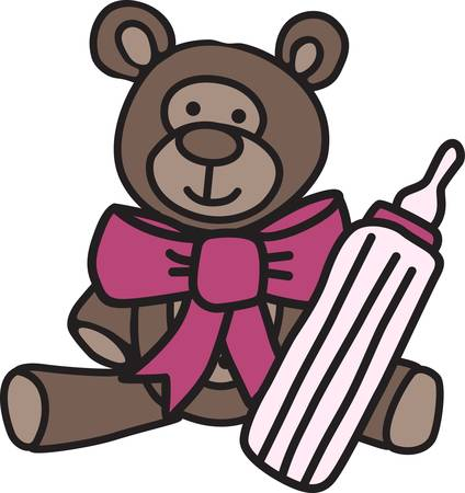 Our cuddly little teddy offers to share a bit of bottle.   What a cute decoration for something cute for the new baby.
