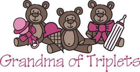 trio: A trio of teddies bring a threesome of treats.   What a cute decoration for something cute for the new baby.