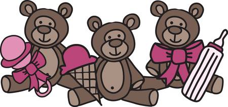 A trio of teddies bring a threesome of treats.   What a cute decoration for something cute for the new baby.