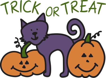 jack o  lanterns: A not so scary kitty has made friends with smiling jack o lanterns to create the perfect Halloween trio.  What a perfect way to decorate your trick or treat bag. Illustration