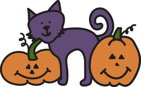 trio: A not so scary kitty has made friends with smiling jack o lanterns to create the perfect Halloween trio.  What a perfect way to decorate your trick or treat bag. Illustration